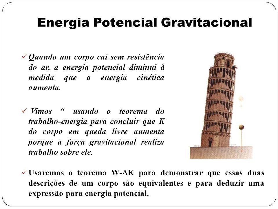 Energia Potencial Gravitacional Quando um corpo cai sem resistência do ar, a energia potencial diminui à medida que a energia cinética aumenta. Vimos