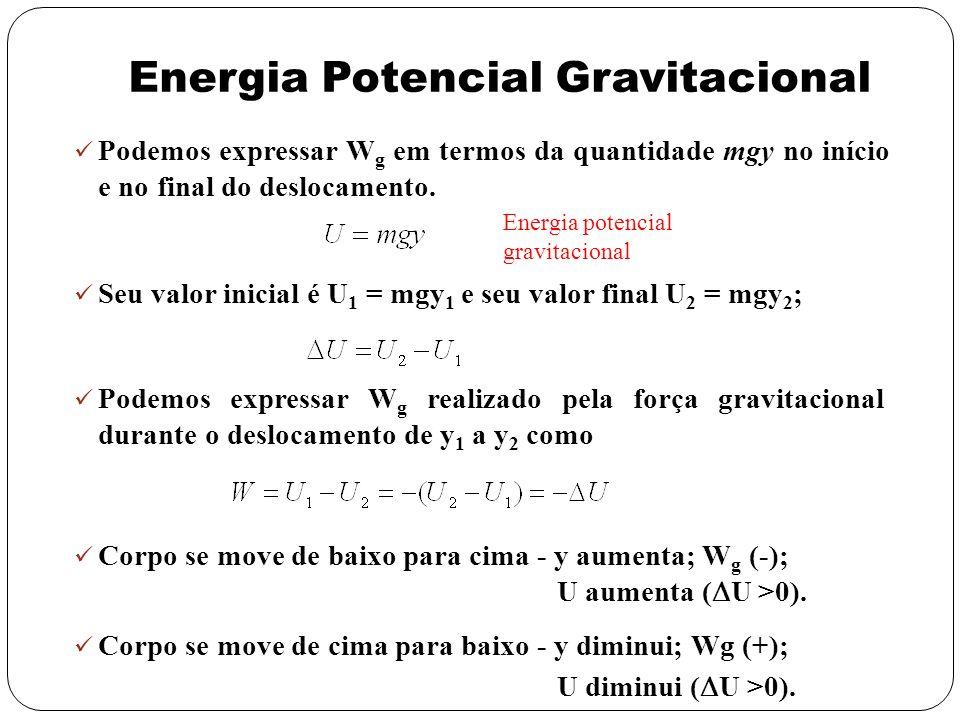 Energia Potencial Gravitacional Podemos expressar W g em termos da quantidade mgy no início e no final do deslocamento. Energia potencial gravitaciona