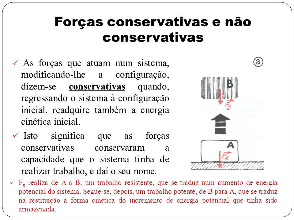 Forças conservativas e não conservativas As forças que atuam num sistema, modificando-lhe a configuração, dizem-se conservativas quando, regressando o