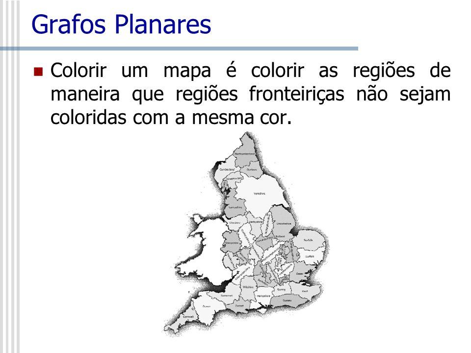 Grafos Planares Colorir um mapa é colorir as regiões de maneira que regiões fronteiriças não sejam coloridas com a mesma cor.