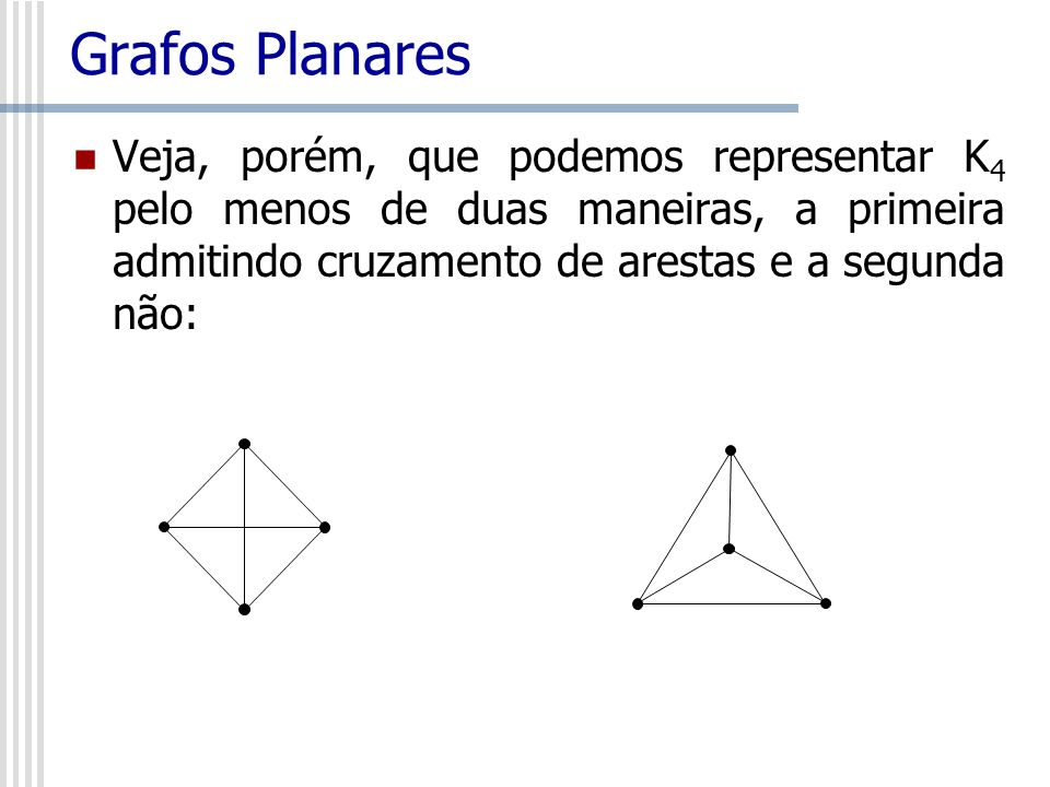 Grafos Planares Veja, porém, que podemos representar K 4 pelo menos de duas maneiras, a primeira admitindo cruzamento de arestas e a segunda não: