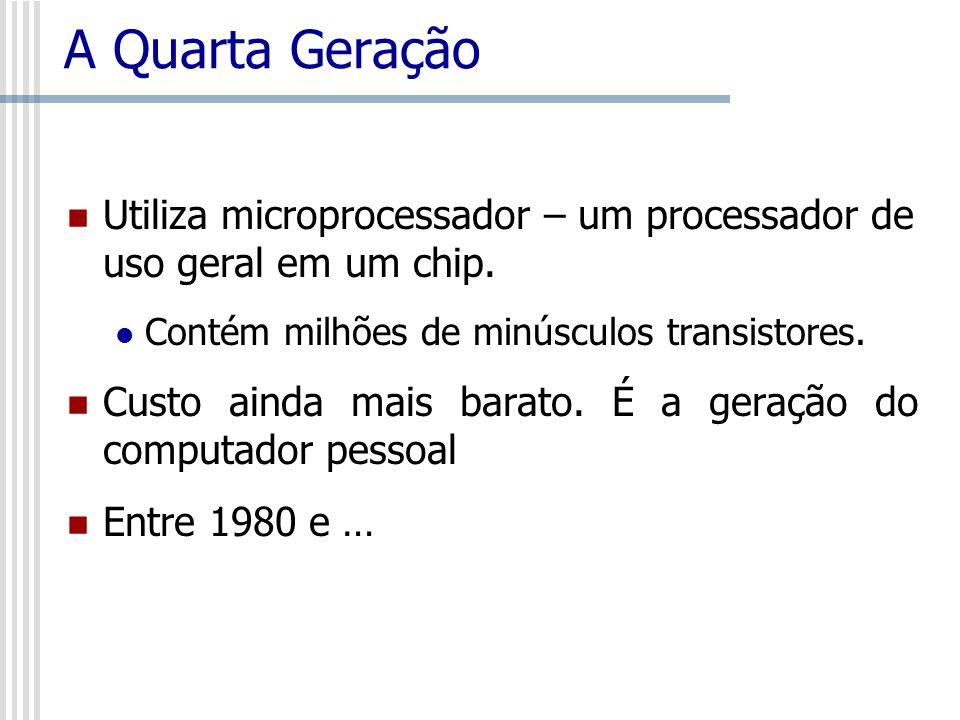 A Quarta Geração Utiliza microprocessador – um processador de uso geral em um chip. Contém milhões de minúsculos transistores. Custo ainda mais barato