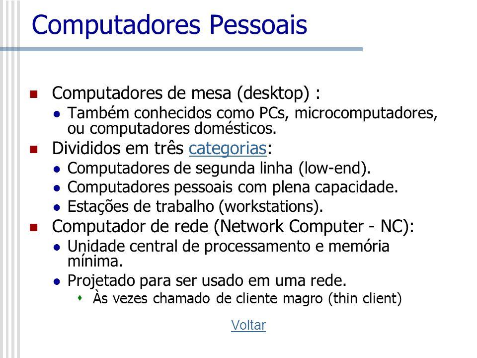 Computadores Pessoais Computadores de mesa (desktop) : Também conhecidos como PCs, microcomputadores, ou computadores domésticos. Divididos em três ca