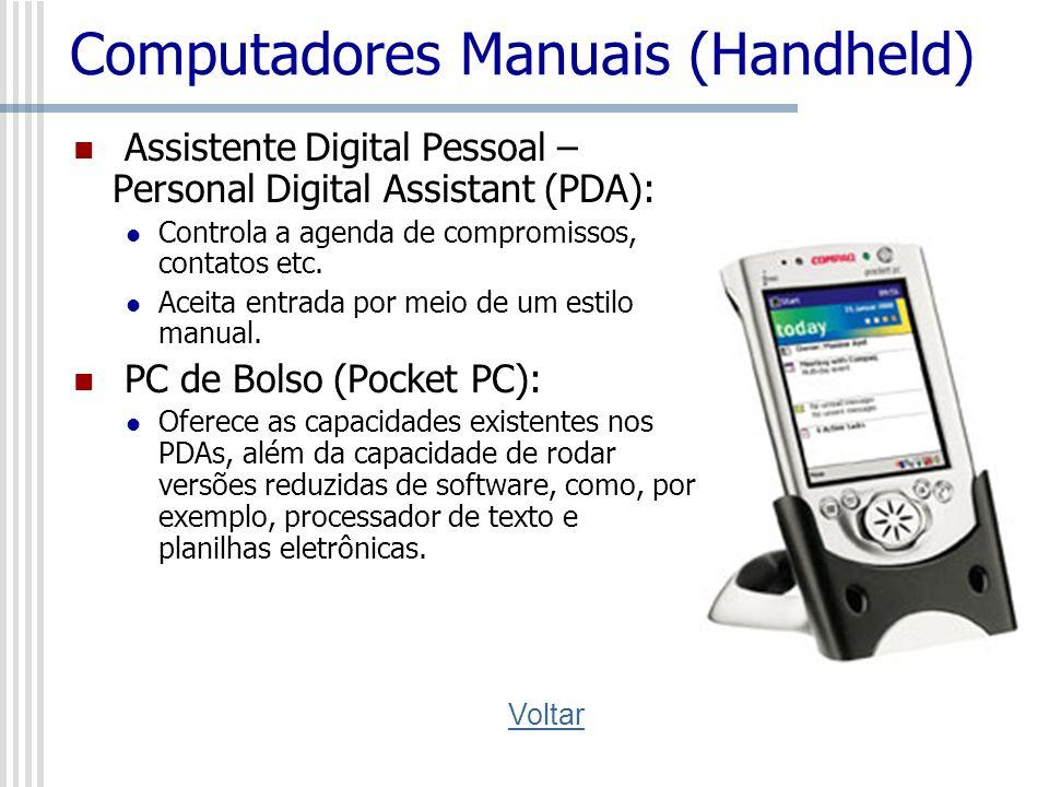 Computadores Manuais (Handheld) Assistente Digital Pessoal – Personal Digital Assistant (PDA): Controla a agenda de compromissos, contatos etc. Aceita