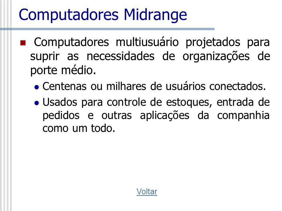 Computadores Midrange Computadores multiusuário projetados para suprir as necessidades de organizações de porte médio. Centenas ou milhares de usuário