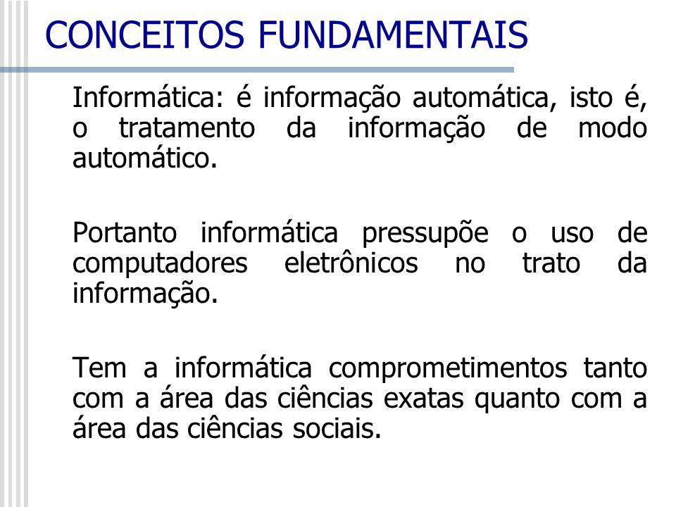 Informática: é informação automática, isto é, o tratamento da informação de modo automático. Portanto informática pressupõe o uso de computadores elet