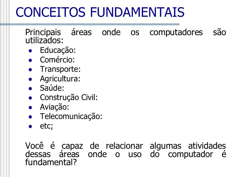 Principais áreas onde os computadores são utilizados: Educação: Comércio: Transporte: Agricultura: Saúde: Construção Civil: Aviação: Telecomunicação: