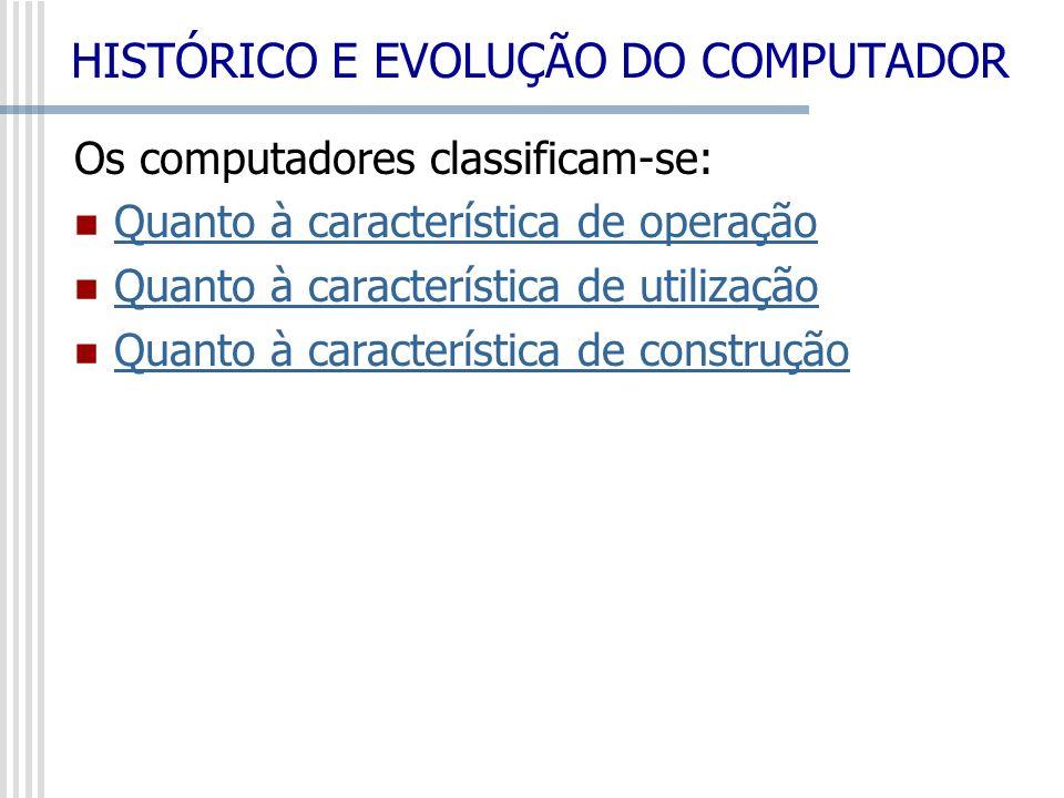 Os computadores classificam-se: Quanto à característica de operação Quanto à característica de utilização Quanto à característica de construção HISTÓR