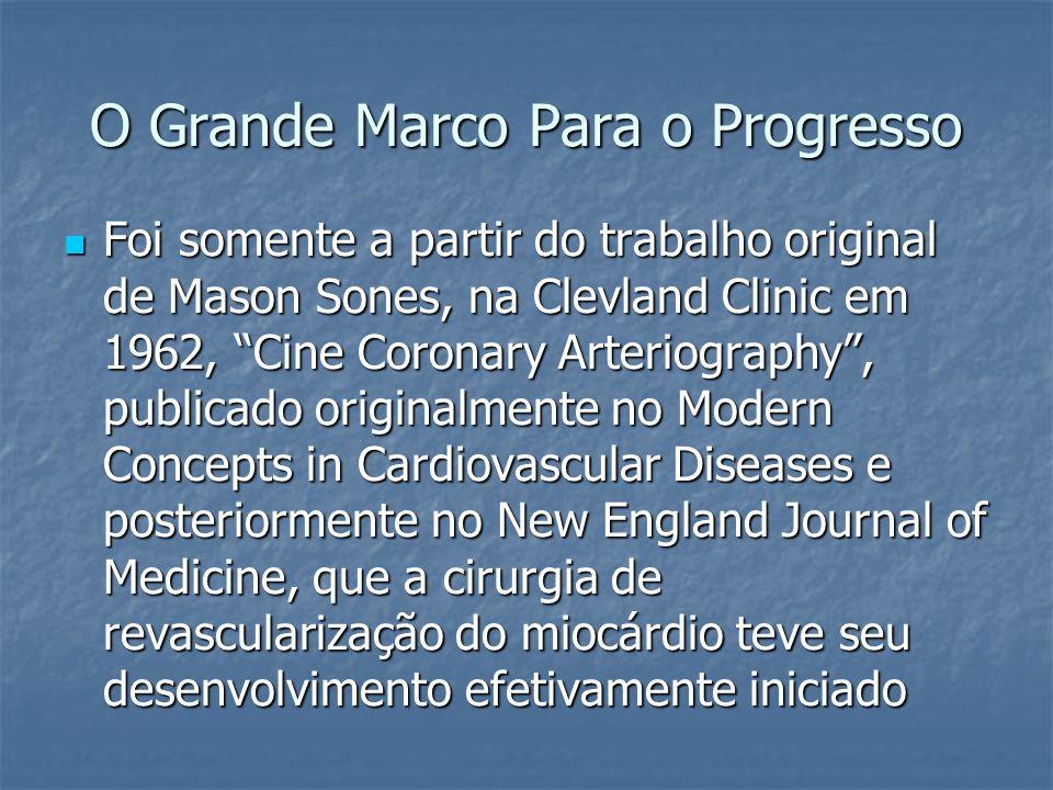 O Grande Marco Para o Progresso Foi somente a partir do trabalho original de Mason Sones, na Clevland Clinic em 1962, Cine Coronary Arteriography, pub