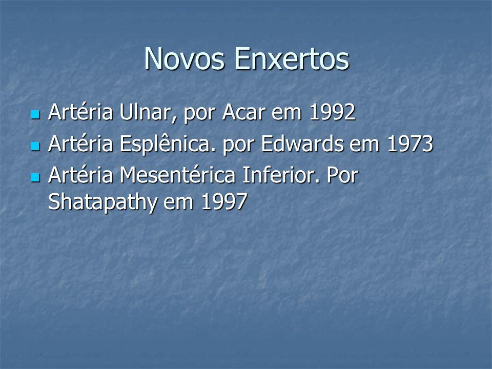 Novos Enxertos Artéria Ulnar, por Acar em 1992 Artéria Ulnar, por Acar em 1992 Artéria Esplênica. por Edwards em 1973 Artéria Esplênica. por Edwards e