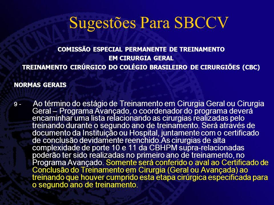 Sugestões Para SBCCV COMISSÃO ESPECIAL PERMANENTE DE TREINAMENTO EM CIRURGIA GERAL TREINAMENTO CIRÚRGICO DO COLÉGIO BRASILEIRO DE CIRURGIÕES (CBC) NOR