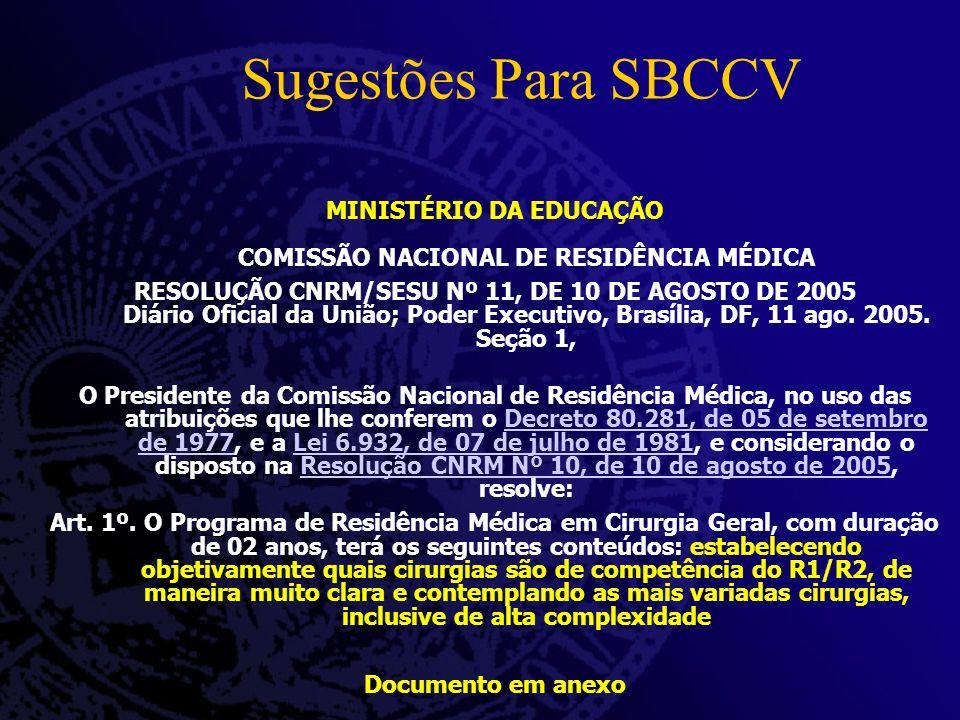 Sugestões Para SBCCV MINISTÉRIO DA EDUCAÇÃO COMISSÃO NACIONAL DE RESIDÊNCIA MÉDICA RESOLUÇÃO CNRM/SESU Nº 11, DE 10 DE AGOSTO DE 2005 Diário Oficial d