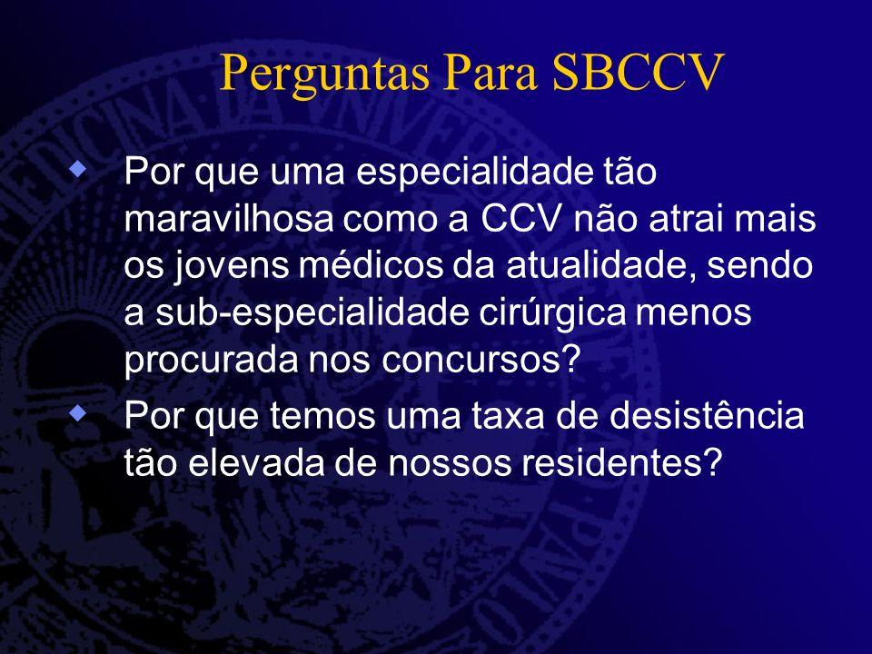 Perguntas Para SBCCV Por que uma especialidade tão maravilhosa como a CCV não atrai mais os jovens médicos da atualidade, sendo a sub-especialidade cirúrgica menos procurada nos concursos.