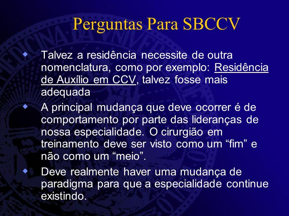 Perguntas Para SBCCV Talvez a residência necessite de outra nomenclatura, como por exemplo: Residência de Auxílio em CCV, talvez fosse mais adequada A