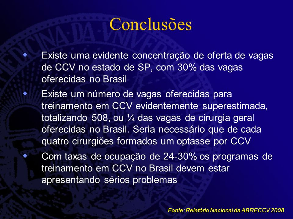 Conclusões Existe uma evidente concentração de oferta de vagas de CCV no estado de SP, com 30% das vagas oferecidas no Brasil Existe um número de vaga