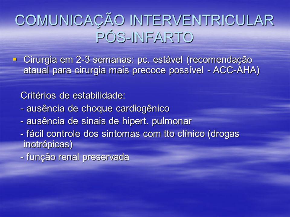 COMUNICAÇÃO INTERVENTRICULAR PÓS-INFARTO Cirurgia em 2-3 semanas: pc. estável (recomendação ataual para cirurgia mais precoce possível - ACC-AHA) Ciru