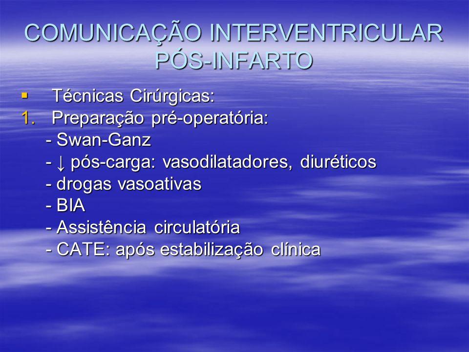 COMUNICAÇÃO INTERVENTRICULAR PÓS-INFARTO Técnicas Cirúrgicas: Técnicas Cirúrgicas: 1.Preparação pré-operatória: - Swan-Ganz - Swan-Ganz - pós-carga: v