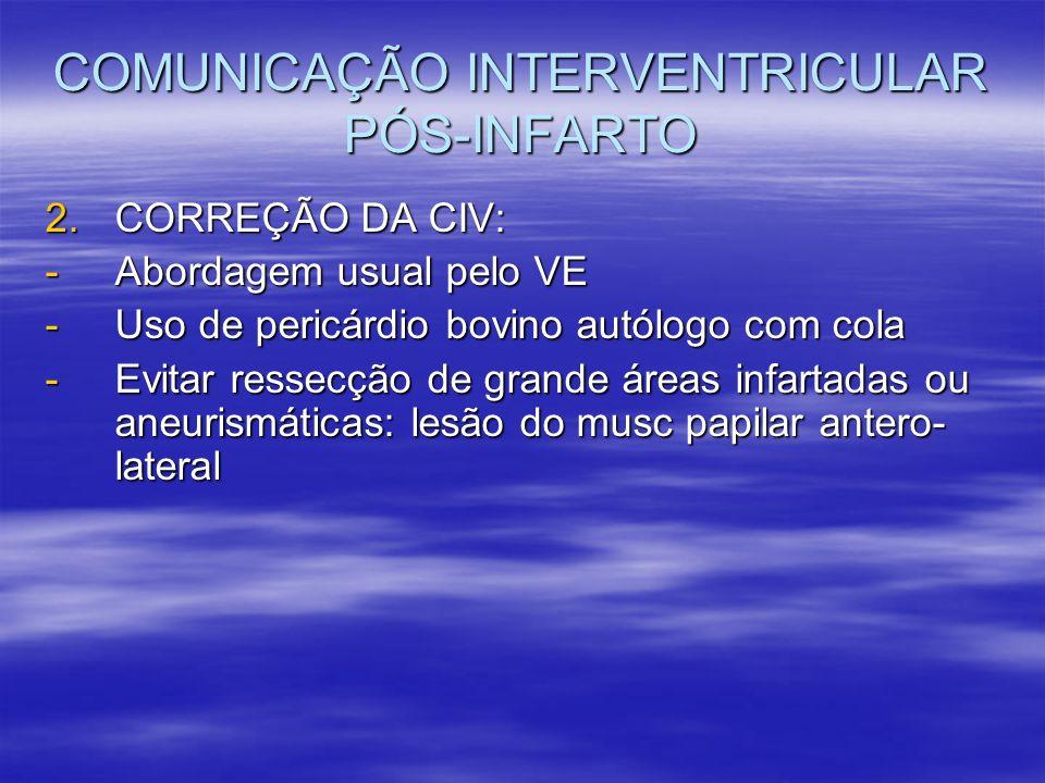 COMUNICAÇÃO INTERVENTRICULAR PÓS-INFARTO 2.CORREÇÃO DA CIV: -Abordagem usual pelo VE -Uso de pericárdio bovino autólogo com cola -Evitar ressecção de