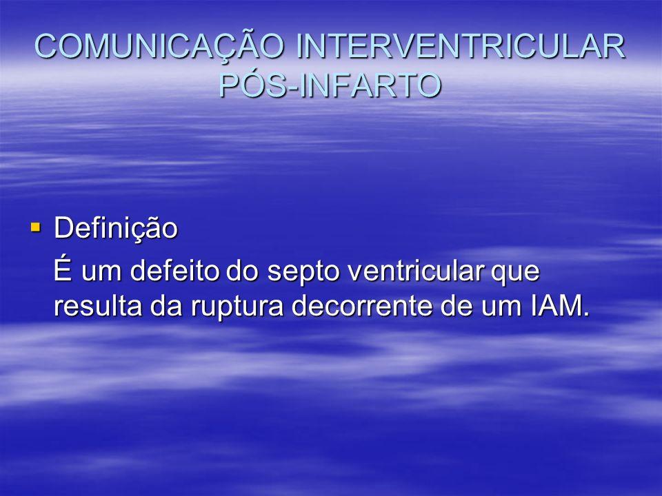 COMUNICAÇÃO INTERVENTRICULAR PÓS-INFARTO Definição Definição É um defeito do septo ventricular que resulta da ruptura decorrente de um IAM. É um defei