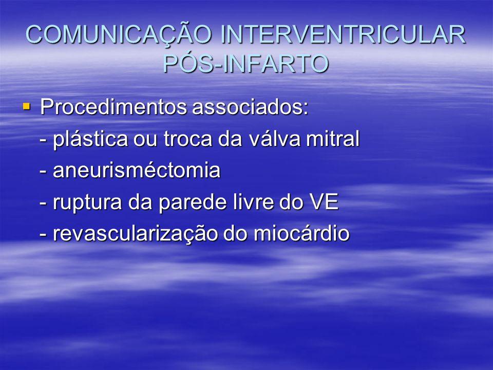 Procedimentos associados: Procedimentos associados: - plástica ou troca da válva mitral - plástica ou troca da válva mitral - aneurisméctomia - aneuri