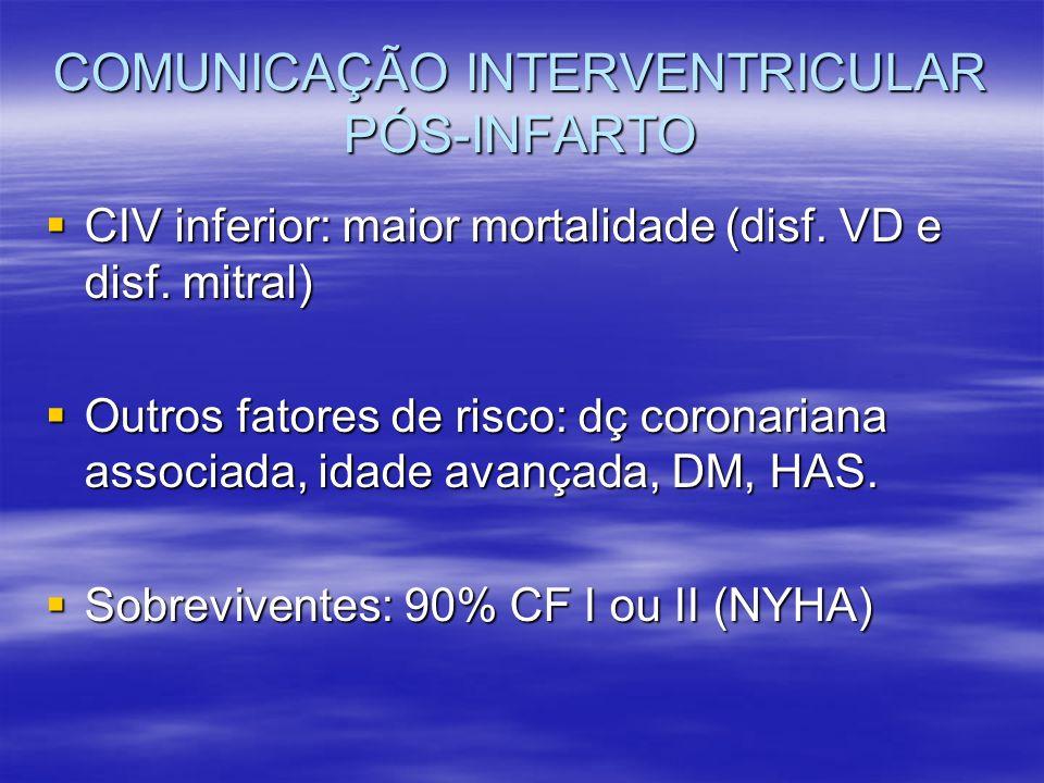 COMUNICAÇÃO INTERVENTRICULAR PÓS-INFARTO CIV inferior: maior mortalidade (disf. VD e disf. mitral) CIV inferior: maior mortalidade (disf. VD e disf. m