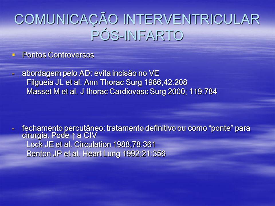 COMUNICAÇÃO INTERVENTRICULAR PÓS-INFARTO Pontos Controversos Pontos Controversos -abordagem pelo AD: evita incisão no VE Filgueia JL et al. Ann Thorac