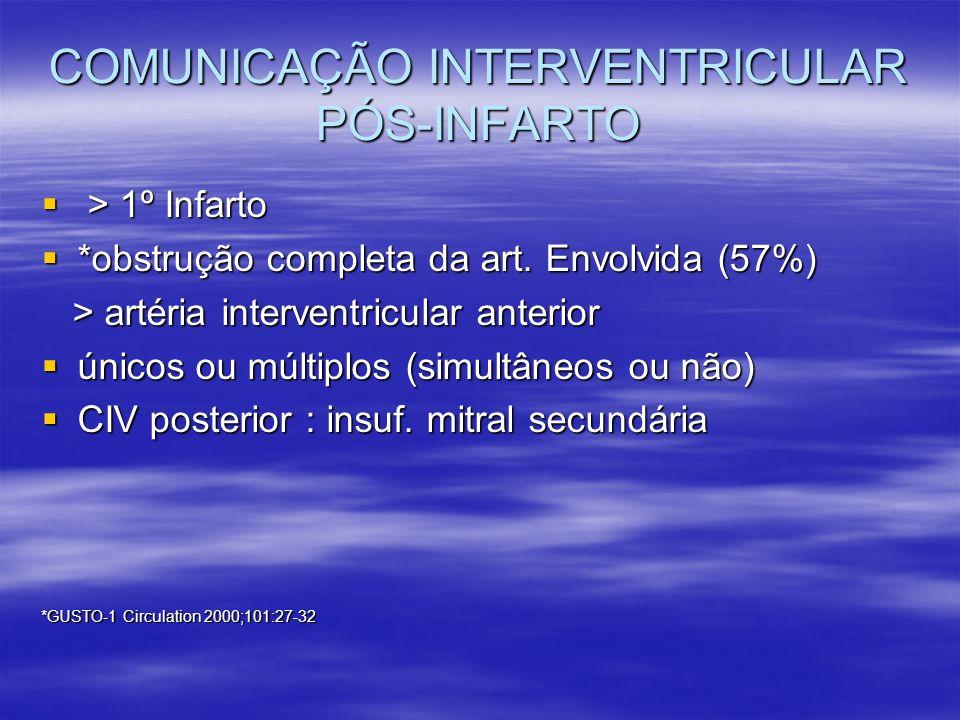 COMUNICAÇÃO INTERVENTRICULAR PÓS-INFARTO > 1º Infarto > 1º Infarto *obstrução completa da art. Envolvida (57%) *obstrução completa da art. Envolvida (