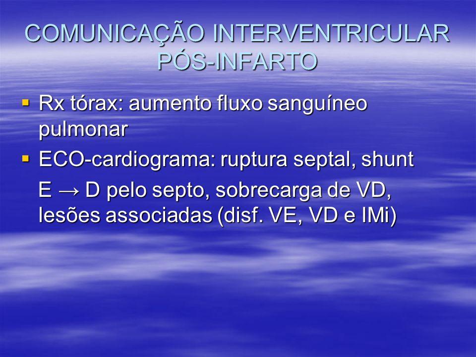 COMUNICAÇÃO INTERVENTRICULAR PÓS-INFARTO Rx tórax: aumento fluxo sanguíneo pulmonar Rx tórax: aumento fluxo sanguíneo pulmonar ECO-cardiograma: ruptur
