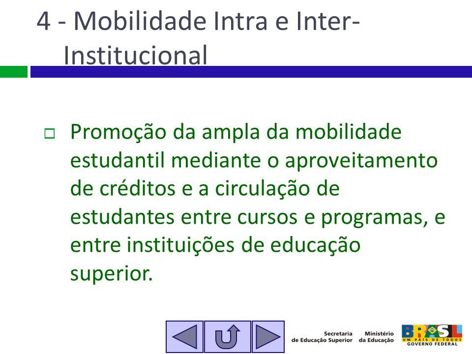 4 - Mobilidade Intra e Inter- Institucional Promoção da ampla da mobilidade estudantil mediante o aproveitamento de créditos e a circulação de estudan