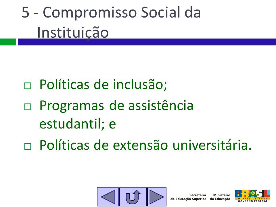 5 - Compromisso Social da Instituição Políticas de inclusão; Programas de assistência estudantil; e Políticas de extensão universitária.