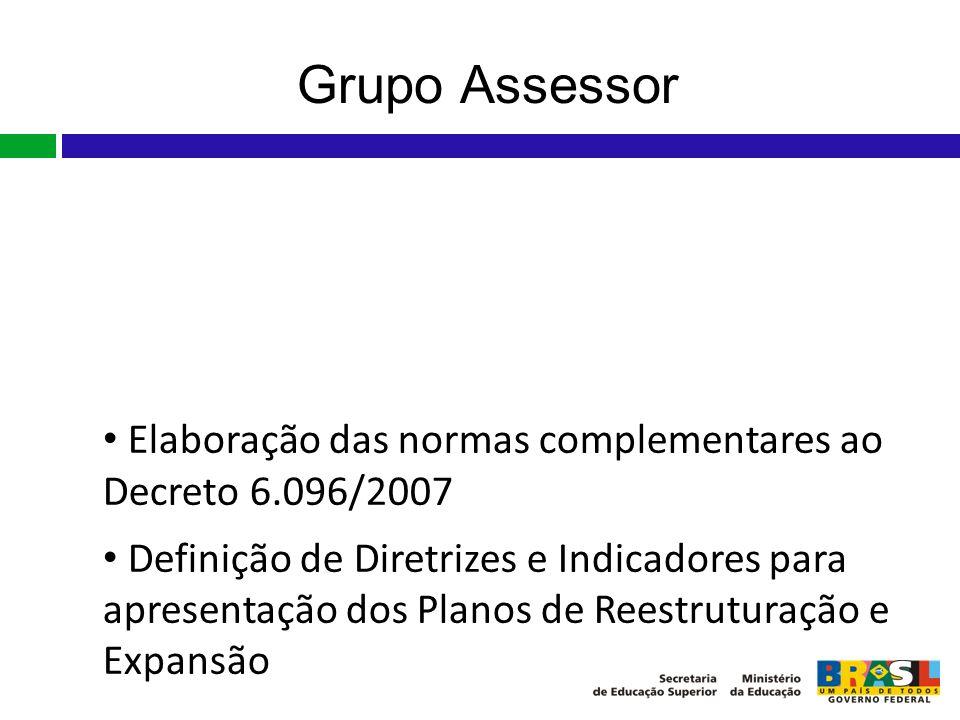 Grupo Assessor Grupo Assessor nomeado pela Portaria nº 552 SESu/MEC, de 25 de junho de 2007, em complemento ao art. 1º §2º do Decreto Presidencial nº