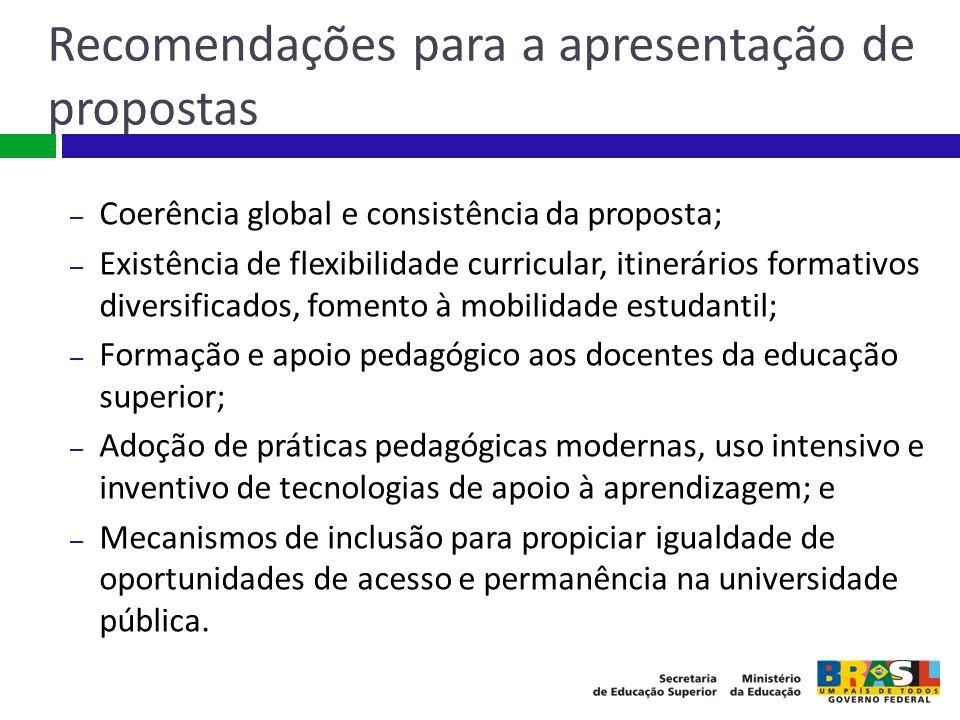 Recomendações para a apresentação de propostas – Coerência global e consistência da proposta; – Existência de flexibilidade curricular, itinerários fo