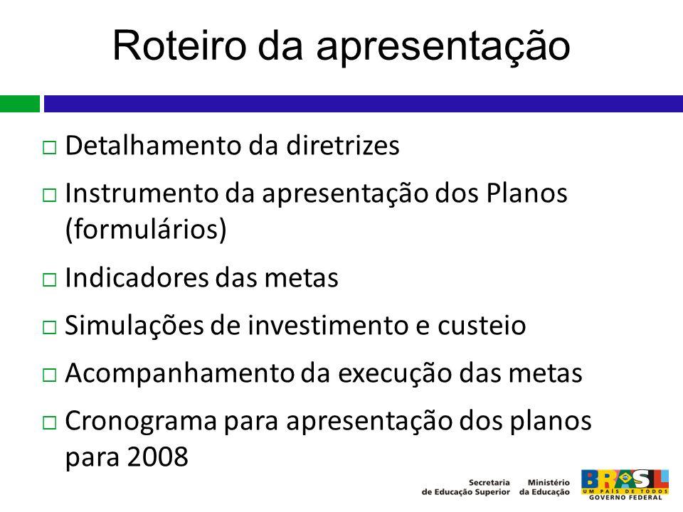 Roteiro da apresentação Detalhamento da diretrizes Instrumento da apresentação dos Planos (formulários) Indicadores das metas Simulações de investimen
