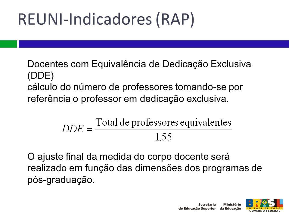 Docentes com Equivalência de Dedicação Exclusiva (DDE) cálculo do número de professores tomando-se por referência o professor em dedicação exclusiva.