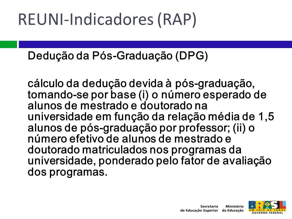 Dedução da Pós-Graduação (DPG) cálculo da dedução devida à pós-graduação, tomando-se por base (i) o número esperado de alunos de mestrado e doutorado