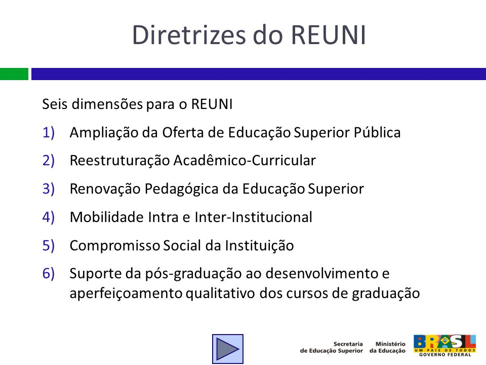 Diretrizes do REUNI Seis dimensões para o REUNI 1)Ampliação da Oferta de Educação Superior Pública 2)Reestruturação Acadêmico-Curricular 3)Renovação P