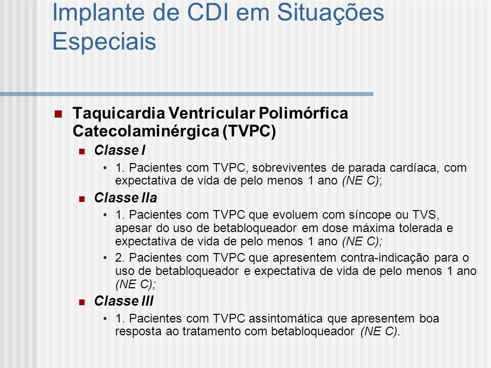 Implante de CDI em Situações Especiais Taquicardia Ventricular Polimórfica Catecolaminérgica (TVPC) Classe I 1. Pacientes com TVPC, sobreviventes de p
