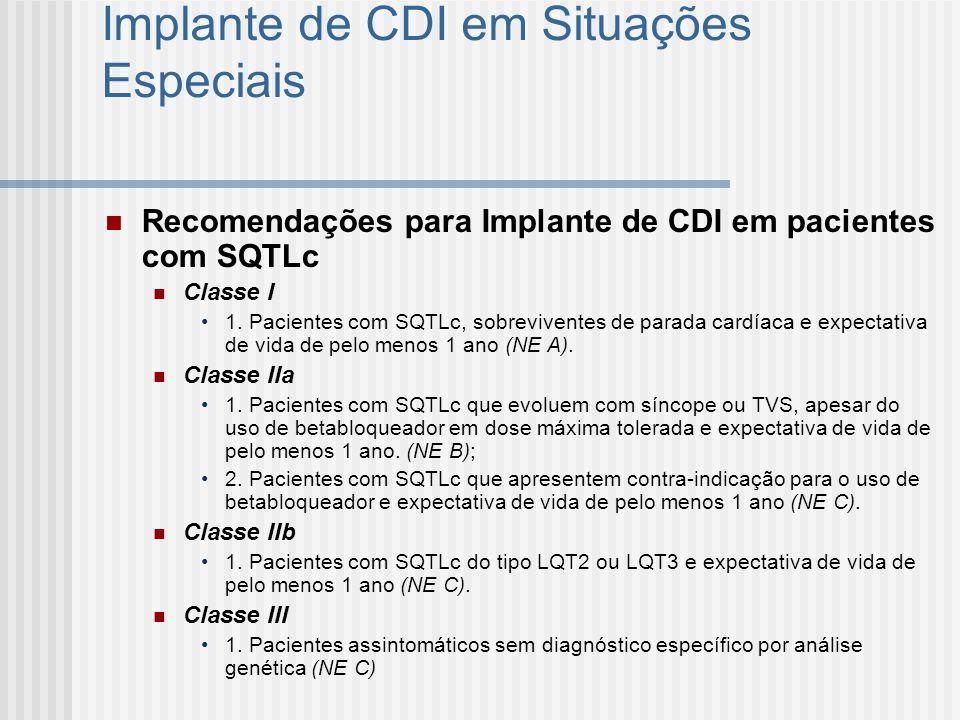 Implante de CDI em Situações Especiais Recomendações para Implante de CDI em pacientes com SQTLc Classe I 1. Pacientes com SQTLc, sobreviventes de par
