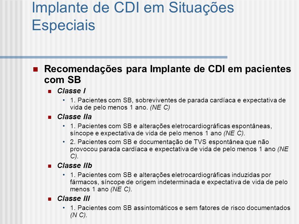 Implante de CDI em Situações Especiais Recomendações para Implante de CDI em pacientes com SB Classe I 1. Pacientes com SB, sobreviventes de parada ca