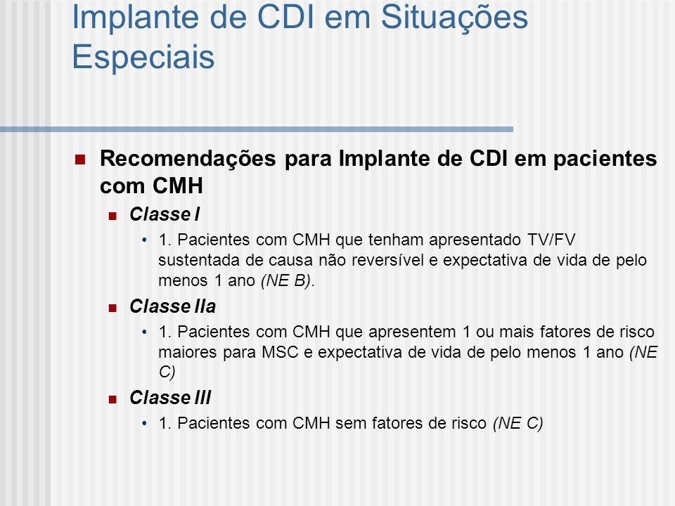 Implante de CDI em Situações Especiais Recomendações para Implante de CDI em pacientes com CMH Classe I 1. Pacientes com CMH que tenham apresentado TV