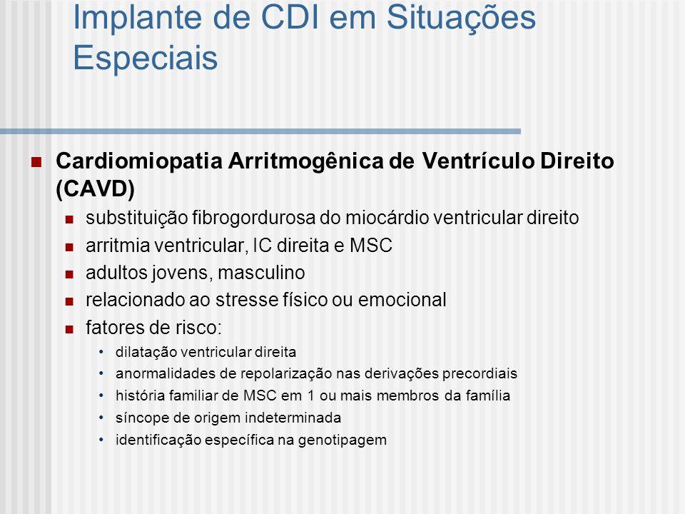 Implante de CDI em Situações Especiais Cardiomiopatia Arritmogênica de Ventrículo Direito (CAVD) substituição fibrogordurosa do miocárdio ventricular