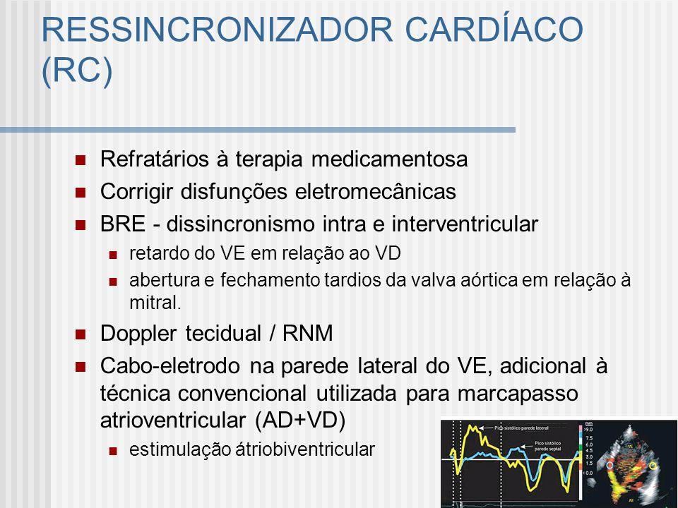 RESSINCRONIZADOR CARDÍACO (RC) Refratários à terapia medicamentosa Corrigir disfunções eletromecânicas BRE - dissincronismo intra e interventricular r