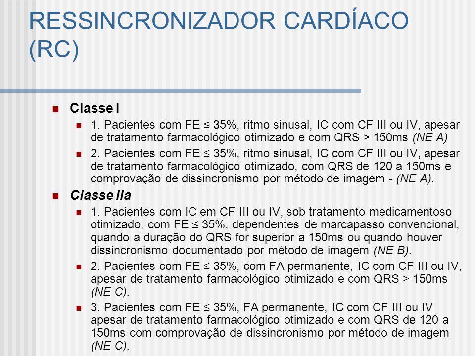 Classe I 1. Pacientes com FE 35%, ritmo sinusal, IC com CF III ou IV, apesar de tratamento farmacológico otimizado e com QRS > 150ms (NE A) 2. Pacient
