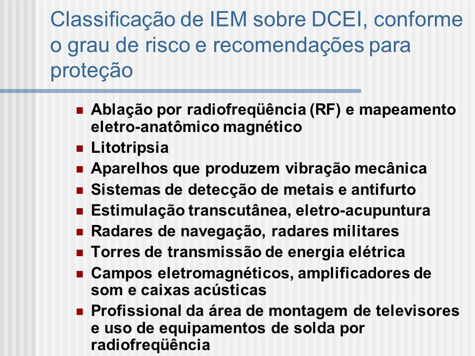 Classificação de IEM sobre DCEI, conforme o grau de risco e recomendações para proteção Ablação por radiofreqüência (RF) e mapeamento eletro-anatômico