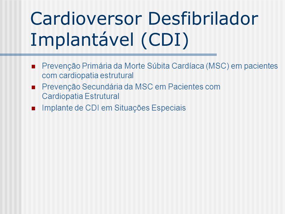 Cardioversor Desfibrilador Implantável (CDI) Prevenção Primária da Morte Súbita Cardíaca (MSC) em pacientes com cardiopatia estrutural Prevenção Secun