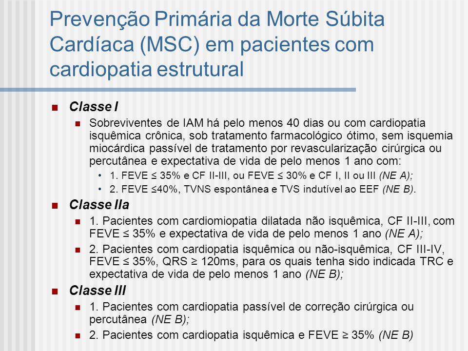 Prevenção Primária da Morte Súbita Cardíaca (MSC) em pacientes com cardiopatia estrutural Classe I Sobreviventes de IAM há pelo menos 40 dias ou com c