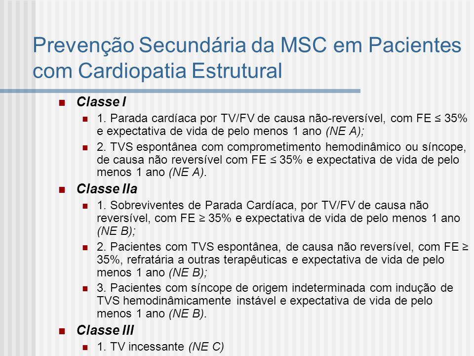 Prevenção Secundária da MSC em Pacientes com Cardiopatia Estrutural Classe I 1. Parada cardíaca por TV/FV de causa não-reversível, com FE 35% e expect