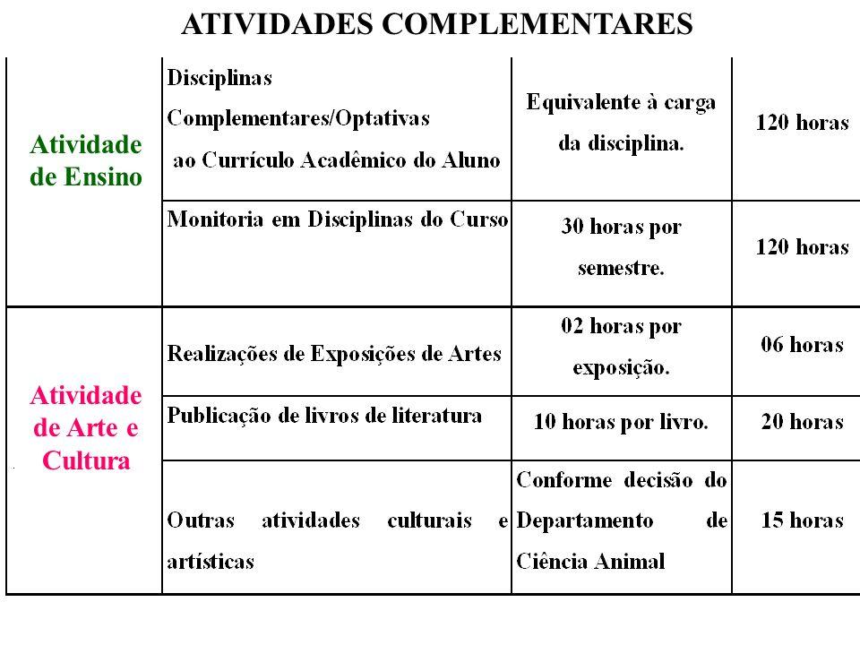 ATIVIDADES COMPLEMENTARES Atividade de Ensino Atividade de Arte e Cultura