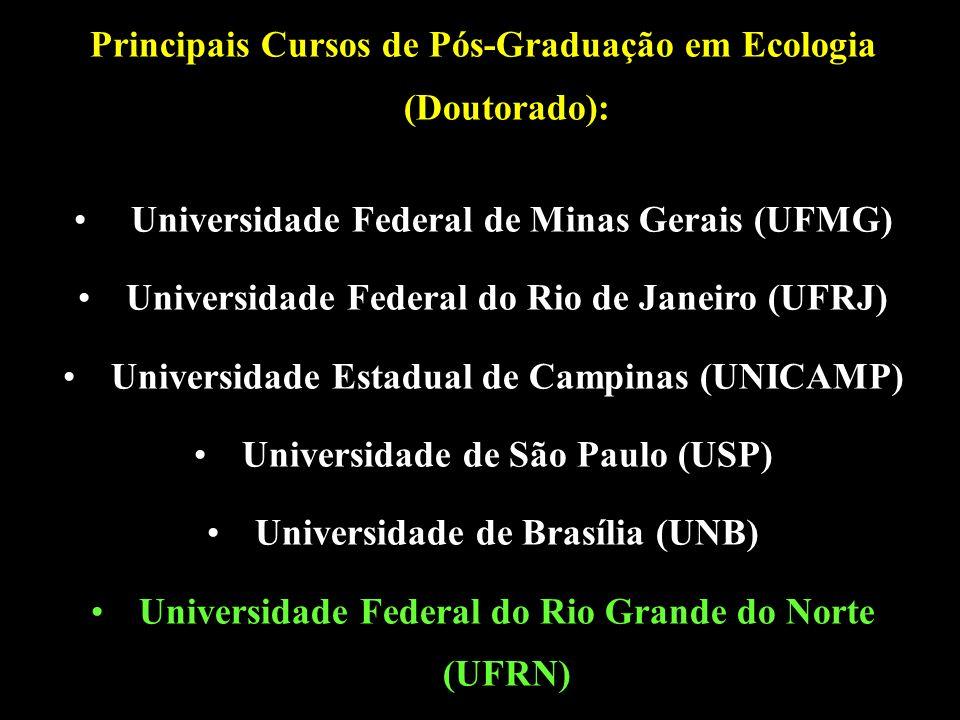 Principais Cursos de Pós-Graduação em Ecologia (Doutorado): Universidade Federal de Minas Gerais (UFMG) Universidade Federal do Rio de Janeiro (UFRJ) Universidade Estadual de Campinas (UNICAMP) Universidade de São Paulo (USP) Universidade de Brasília (UNB) Universidade Federal do Rio Grande do Norte (UFRN)