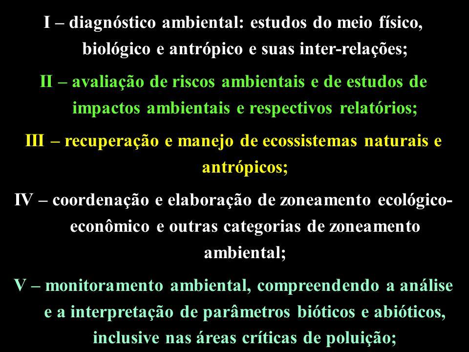 I – diagnóstico ambiental: estudos do meio físico, biológico e antrópico e suas inter-relações; II – avaliação de riscos ambientais e de estudos de impactos ambientais e respectivos relatórios; III – recuperação e manejo de ecossistemas naturais e antrópicos; IV – coordenação e elaboração de zoneamento ecológico- econômico e outras categorias de zoneamento ambiental; V – monitoramento ambiental, compreendendo a análise e a interpretação de parâmetros bióticos e abióticos, inclusive nas áreas críticas de poluição;